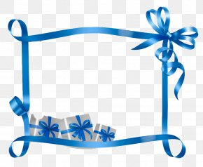 Blue Ribbon Gift Decoration Bar Frame - Christmas Name Tag Gift Template Holiday PNG