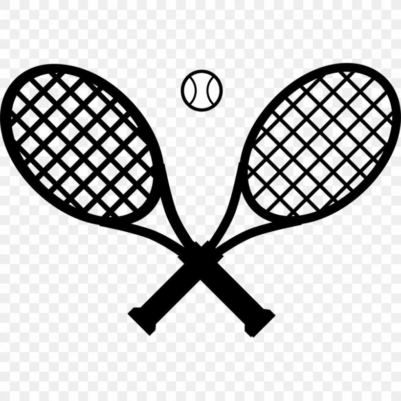 Racket Tennis Ball Clip Art, PNG, 1000x1000px, Racket, Area, Ball, Black And White, Head Download Free