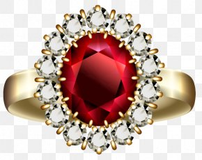 Transparent Diamond And Ruby Ring Clipart - Engagement Ring Ruby Diamond Clip Art PNG