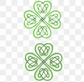 Clover Shape Weave Pattern - Four-leaf Clover Celts Celtic Knot Shamrock PNG