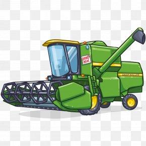 Cartoon Tractor - Combine Harvester John Deere Agriculture Drawing Clip Art PNG