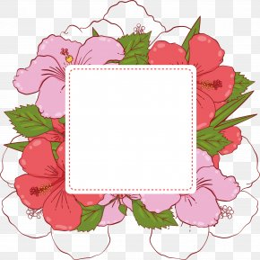Pink Summer Flower Banner Box - Flower Adobe Illustrator Clip Art PNG