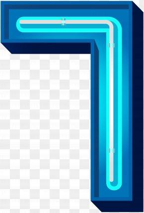 Number Seven Blue Neon Clip Art Image - Number Clip Art PNG