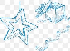 Hand-painted Blue Star Ribbon Gift Box - Paper Gift Box Christmas PNG