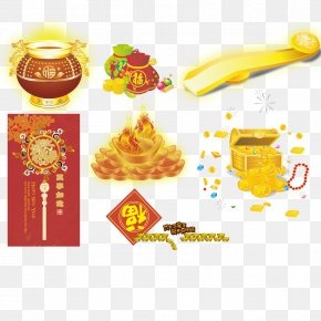 Chinese New Year Festive Element Vector Material Gold And Silver Ingots - Euclidean Vector Bxe1nh Chu01b0ng Gold Chinese New Year PNG