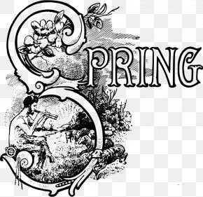 Spring Text - Black And White Clip Art PNG