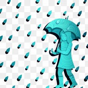 Walking In The Rain - Rain Umbrella Cartoon Clip Art PNG