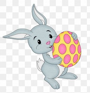 Easter Bunny With Yellow Egg Transparent Clipart - Easter Bunny Clip Art PNG