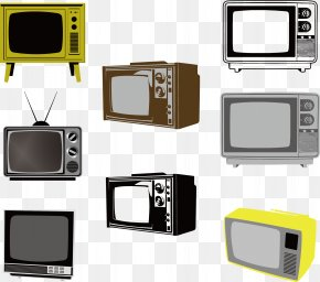 Early Black And White TV - Black And White Television Set PNG