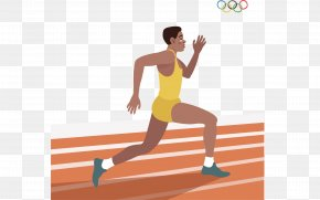 Vector Hand-painted Running Man - 2016 Summer Olympics Running Euclidean Vector Athlete PNG