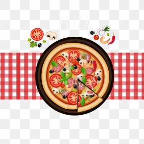 Pizza Plan View Vector - Pizza Take-out Italian Cuisine Fast Food Doner Kebab PNG