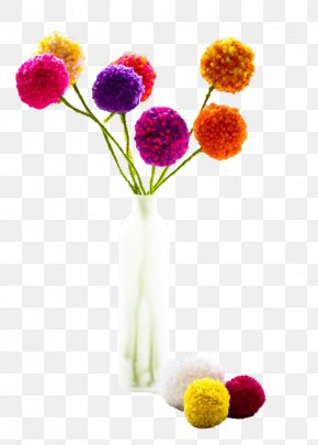 Colorful Flower Ball - Pom-pom Craft Tutorial How-to Flower PNG