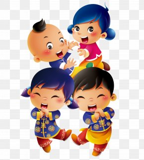 4 New Year's Children - Chinese New Year PNG