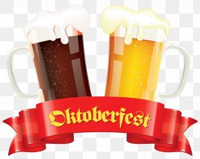 Oktoberfest Banner With Beers Decor Clipart Picture - Oktoberfest Beer Stock Illustration Clip Art PNG