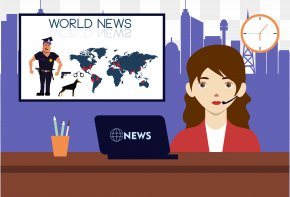 News Anchor - Cartoon News Presenter Illustration PNG