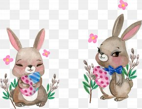 Vector Hand Painted Rabbit - Rabbit Watercolor Painting Illustration PNG