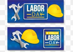 Labor Day Banner With Helmet And Tools - Labor Day Labour Day Euclidean Vector International Workers Day PNG