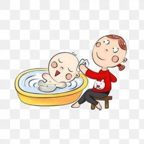 Cartoon Baby Bath Picture Material - Bathing Infant Postpartum Confinement Child PNG