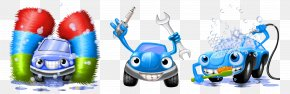 Hand-painted Blue Cartoon Car Washing Process - Car Wash Icon PNG