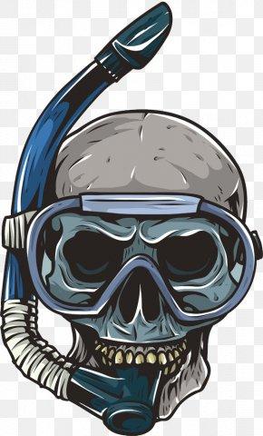 Diving Head Skeleton Skull - Skull Underwater Diving Skeleton PNG