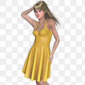 Summer Clothing - Polka Dot Shoulder Cocktail Dress PNG