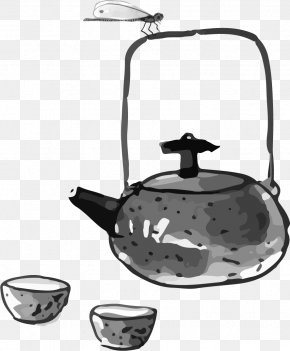 Ink China Wind Creative - Teapot Chinese Cuisine Ink Wash Painting PNG
