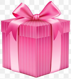 Pink Striped Gift Box Clipart Picture - Christmas Gift Box Clip Art PNG