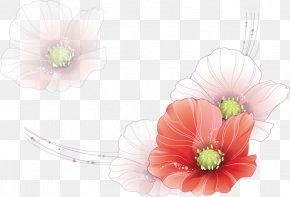 Line Drawing Floral Watercolor Flowers - Watercolor Painting Drawing PNG