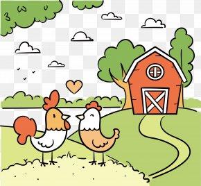 Cartoon Children Painting Chicken Farm - Chicken Painting Cartoon Illustration PNG