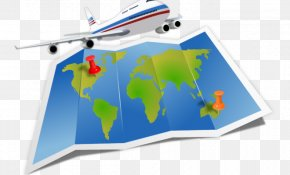 Travel Guide - Airplane Map Air Travel Clip Art PNG