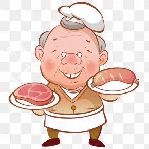 Holding Meat Grandfather - Illustration PNG