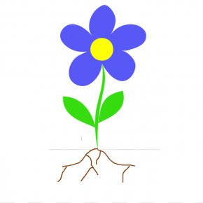 Simple Plant Cliparts - Root Plant Stem Flower Clip Art PNG