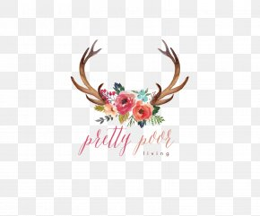 Cute Watermark - Deer Antler Watercolor Painting Flower Clip Art PNG
