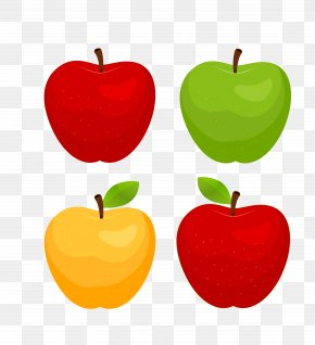 Vector Four Colors Colored Big Apple Collection - Apple Red Poster PNG