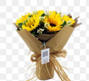 Bouquet Of Sunflowers - Flower Bouquet Common Sunflower Nosegay PNG