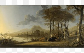 Painting - National Gallery River Landscape With Horseman And Peasants Landscape Painting Baroque PNG