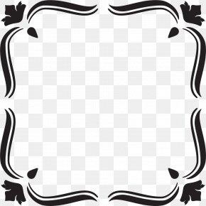 Hand Painted Black Leaf Frame - Black And White Leaf PNG