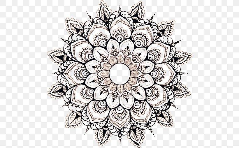 Mandala Floral Design Drawing Art Circle, PNG, 500x508px
