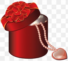 Valentine Red Round Gift Box With Heart - Valentine's Day Gift Heart Clip Art PNG