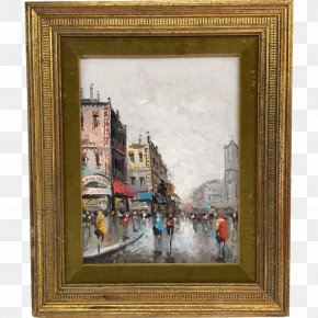 Oil Paintings - Picture Frames Oil Painting Art Paris Street; Rainy Day PNG