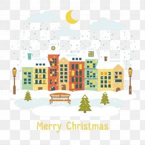 Christmas Night Vector Material - Christmas Village Euclidean Vector PNG