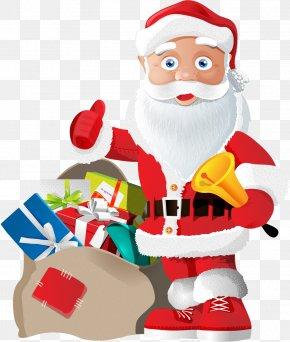 Vector Santa Claus And Gifts - Santa Claus Christmas Gift Clip Art PNG