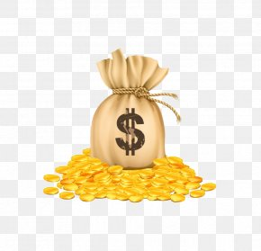Bag Of Gold Coins - Money Bag Gold Coin Clip Art PNG
