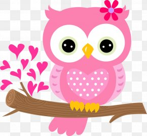 Lovely Pink Owl - Owl Pink Clip Art PNG