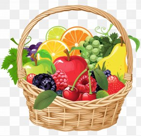 Fruit Basket Vector Clipart - Fruit Gift Basket Clip Art PNG