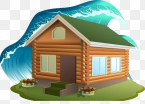 Flood And Tsunami Submerged Houses - House Stock Illustration Clip Art PNG