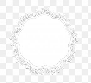 Lace Border - Circle Area Black And White PNG