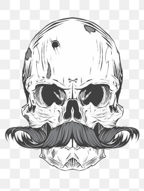 Skull Moustache Tattoo PNG