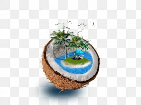 Coconut Creative Figure - Coconut Water Tree Illustration PNG