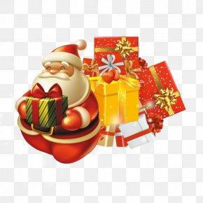 Santa Claus And Gift Box - Santa Claus Christmas Gift Christmas Gift PNG